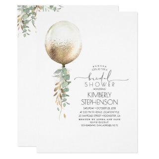 Greenery and Gold Glitter Balloon Bridal Shower Invitation