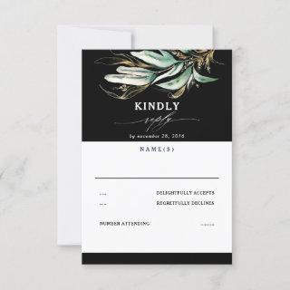 Greenery and Gold Leaves Black  Wedding RSVP