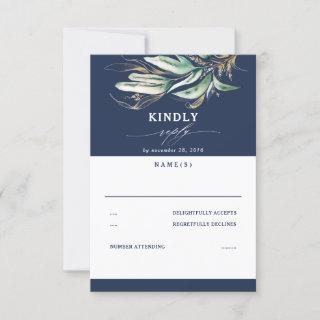 Greenery and Gold Leaves Navy Blue Wedding RSVP