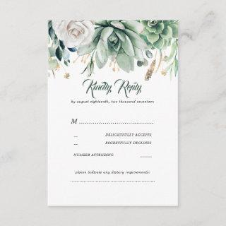 Greenery and gold Wedding RSVP