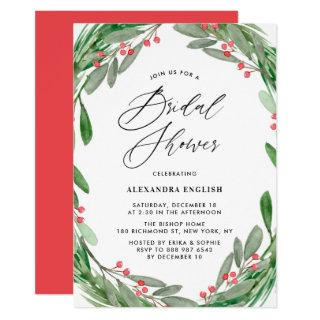 Greenery and Holly Wreath Winter Bridal Shower Invitations