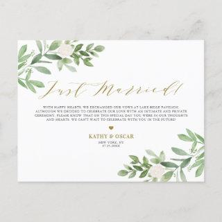 Greenery and White Flowers Just Married Wedding Announcement Postcard