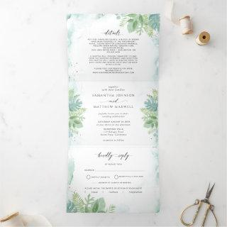 Greenery, Blue Green Watercolor with RSVP Wedding Tri-Fold Invitation