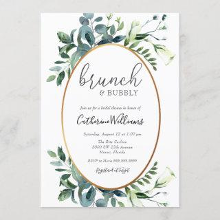 Greenery Brunch and Bubbly Bridal Shower Invitations