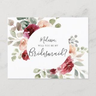 Greenery Burgundy Will You Be My Bridesmaid Invitations Postcard