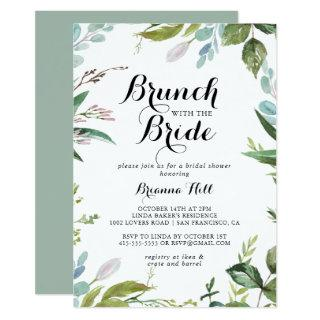 Greenery Calligraphy Brunch with the Bride Shower Invitations