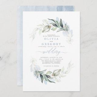 Greenery Dusty Blue Modern Elegant Wedding Invitations