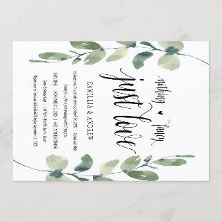 Greenery Eucalyptus,  Black Ink, Wedding Elopement Invitation
