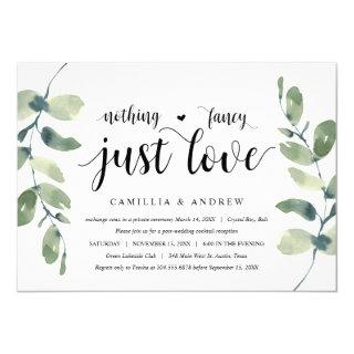 Greenery Eucalyptus,  Black Ink, Wedding Elopement Invitations