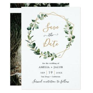 Greenery Eucalyptus Geometric Frame Save the Date Invitations