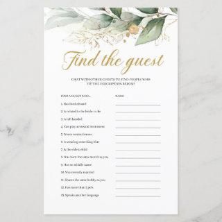Greenery eucalyptus gold boho find the guest game