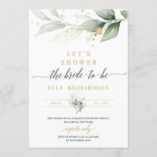 Greenery eucalyptus gold bride-to-be bridal shower Invitations