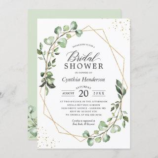 Greenery Eucalyptus Gold Geometric Bridal Shower Invitations