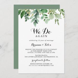 Greenery Eucalyptus We Do Again Vow Renewal Invitations