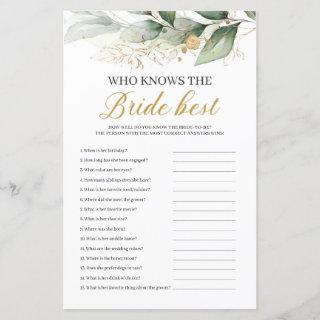 Greenery eucalyptus who knows bride best game
