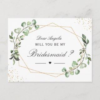 Greenery Eucalyptus Will You Be My Bridesmaid Invitation Postcard