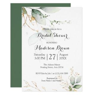 Greenery Floral Gold Foil Leaves Bridal Shower Invitations