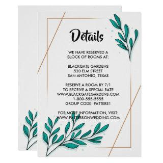 Greenery Floral Gold Foil Leaves Enclosure Invitation