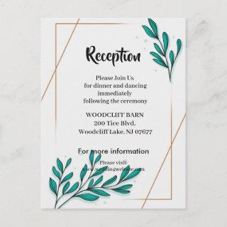 Greenery Floral Gold Foil Leaves reception card
