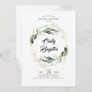 Greenery Foliage and Gold Leaves Bridal Shower Invitation