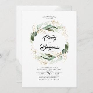 Greenery Foliage and Gold Leaves Elegant Wedding Invitations