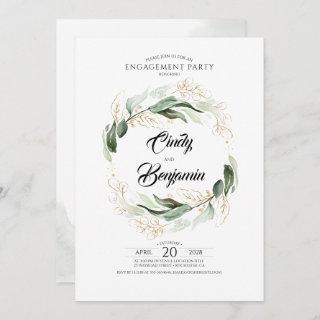 Greenery Foliage and Gold Leaves Engagement Party Invitations