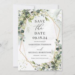 Greenery foliage eucalyptus leaves gold geometric save the date