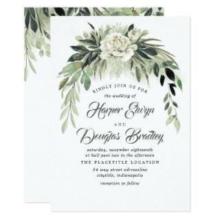 Greenery Garland and White Peony Vintage Wedding Invitation