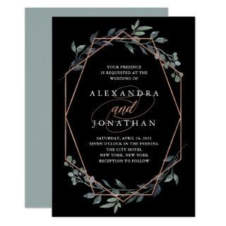 Greenery Geo Black | Rose Gold Wedding Invitations