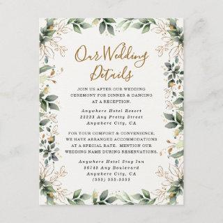 Greenery Gold Elegant Watercolor Boho Leaf Wedding Enclosure Card