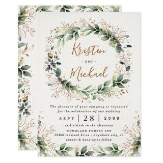 Greenery Gold Elegant Watercolor Boho Leaf Wedding Invitation