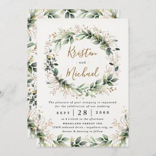 Greenery Gold Elegant Watercolor Boho Leaf Wedding Invitations