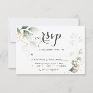 Greenery Gold Foil Leaves Wedding RSVP Reply Card