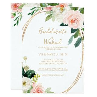 Greenery & Gold Geometric Bachelorette Weekend Invitation