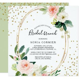 Greenery & Gold Geometric Elegant Bridal Brunch Invitations