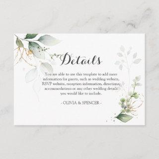 Greenery Gold Leaves Wedding Reception Details Enclosure Card