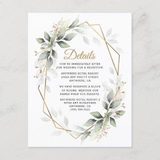 Greenery Green and Gold Geometric Rustic Wedding Enclosure Card