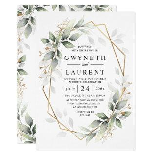 Greenery Green and Gold Geometric Rustic Wedding Invitations