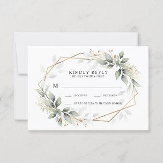 Greenery Green and Gold Geometric Rustic Wedding RSVP Card