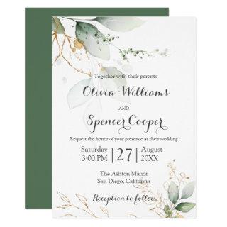 Greenery Green & Gold Nature Green Floral Wedding Invitations