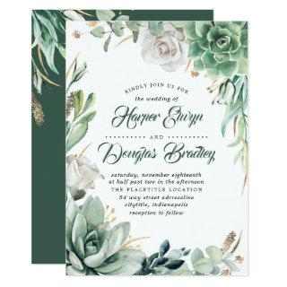 Greenery | Green & Gold | Succulent Floral Wedding Invitations