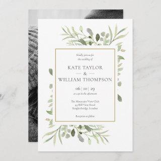 Greenery Leaves Photo Wedding Invitation