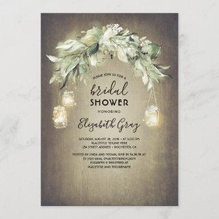 Greenery Mason Jar Lights Rustic Bridal Shower Invitation