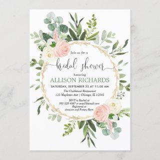 Greenery pink gold eucalyptus floral bridal shower Invitations