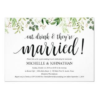 Greenery Post Wedding Brunch Invitations Card