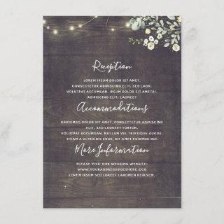 Greenery Rustic Country Wedding Information Guest Enclosure Card