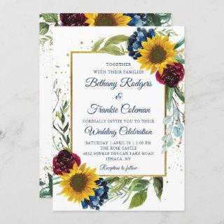 Greenery Sunflower Floral Gold Glitter Wedding Invitations