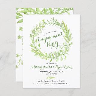 Greenery Watercolo Wreath Engagement Party