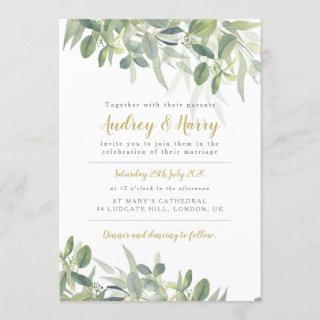 Greenery Wedding Invitations with eucalyptus