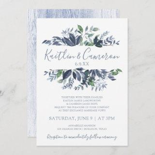 Greenery Wedding Invitations - Dusty Blue & Green